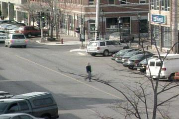 A picture from the PEI webcam showing someone Jaywalking.