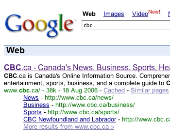 Google search results showing 'sitelinks' for the CBC website