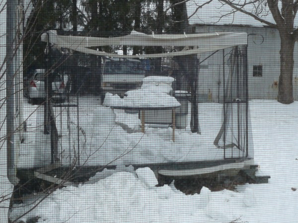 The neighbours gazebo was crushed by falling snow