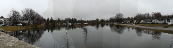 Panoramic view of the flooding of Kemptville Creek near Curry Park in 2008