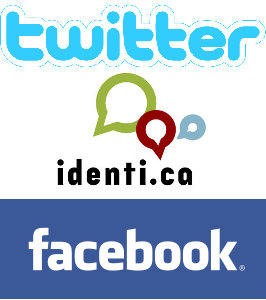 Facebook, Twitter and Identi.ca
