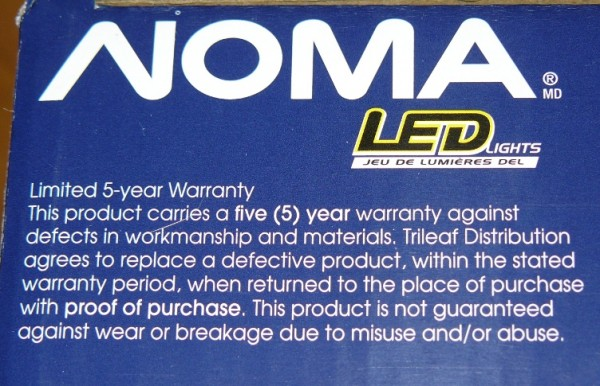 5 year warranty on the box and in the box