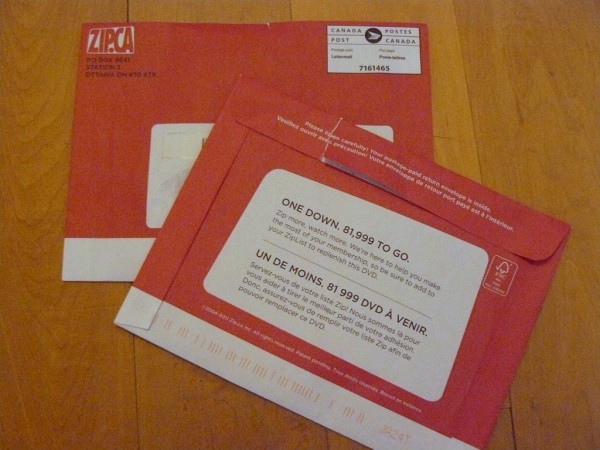 The Zip.ca red envelopes that DVDs are mailed out in