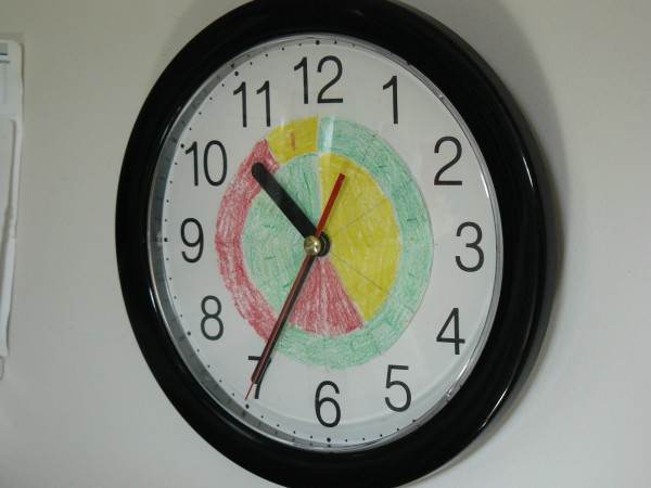 Picture of a clock with colour coded sections indicating the current Time of Use period.