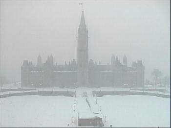A snowy view of Parliament Hill from the NCC webcam