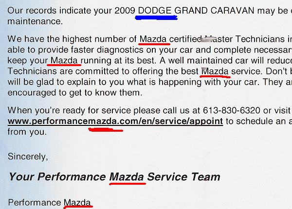 Service remind for a Dodge Grand Caravan from a Mazda Dealership