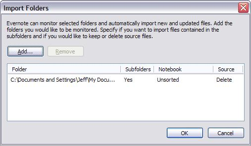 Evernote Import Folders dialog box